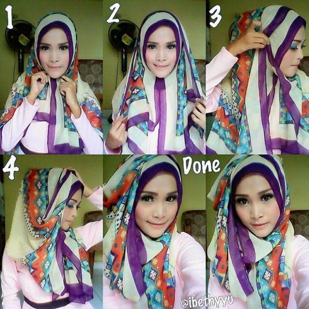 Cara Hijab Segi Empat Yang Sederhana dan Praktis 1