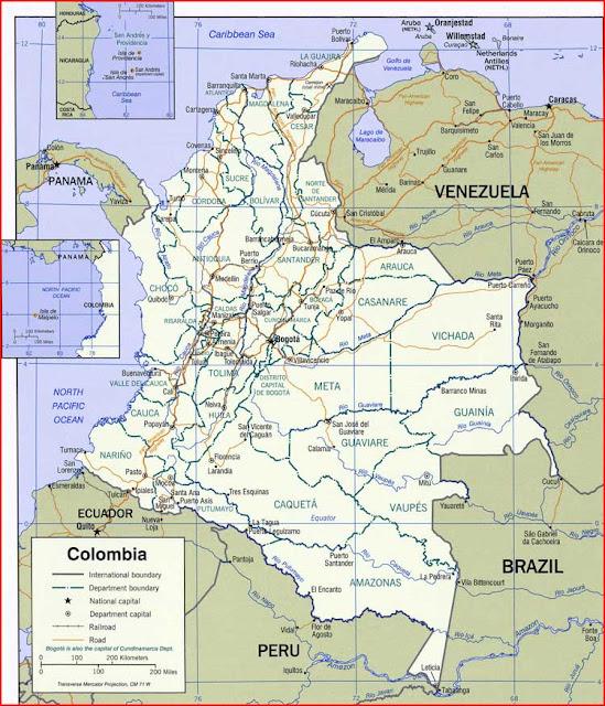 Gambar Peta politik Kolombia