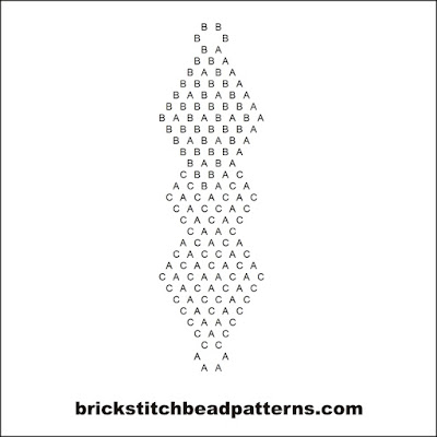 Free intermediate brick stitch earring pattern letter chart.