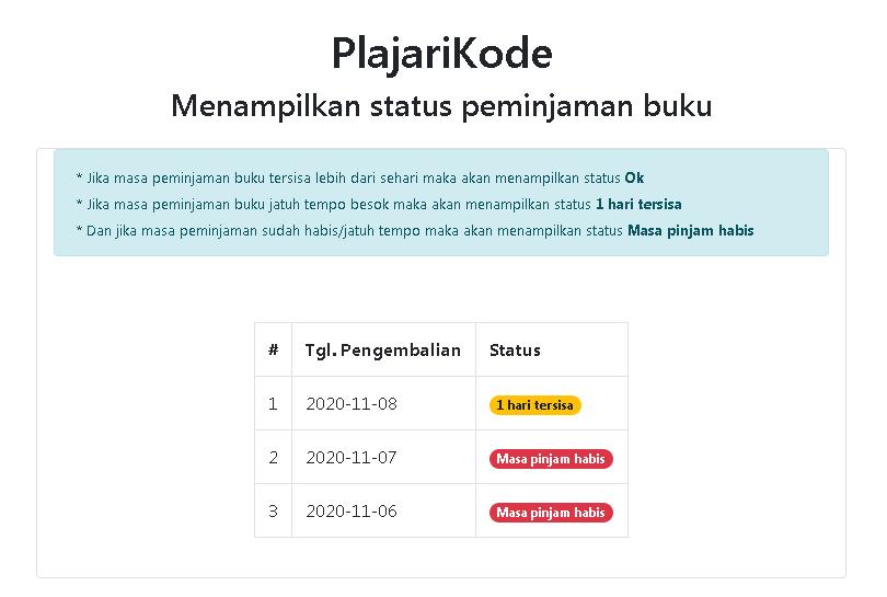 PlajariKode - Menampilkan status peminjaman dengan PHP dan MySQL