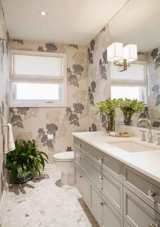baño paredes papel tapiz