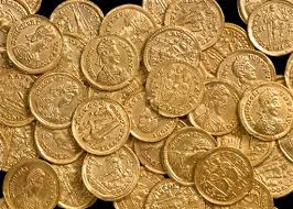 Hundreds of Roman gold coins