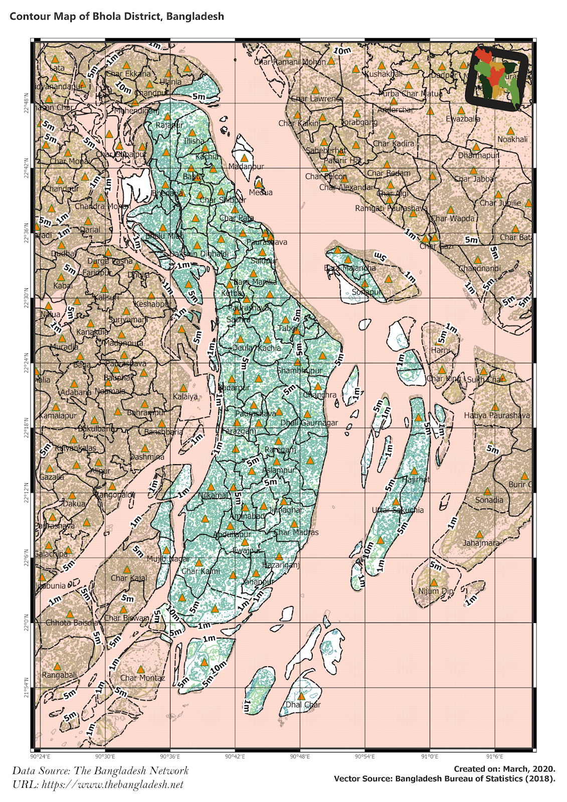 Elevation Map of Bhola District of Bangladesh