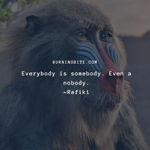 Everybody is somebody. Even a nobody. ~Rafiki