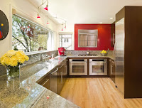 Creative inspiring kitchen furniture idea with granite countertop and wooden cabinet