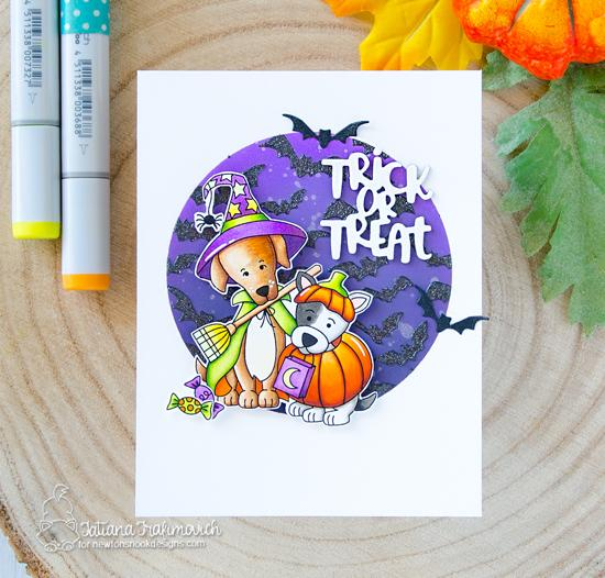 Dogs in Costumes Halloween Card by Tatiana Trafimovich | Happy Howl-oween Stamp Set and Flying Bats Stencil by Newton's Nook Designs #newtonsnook #handmade