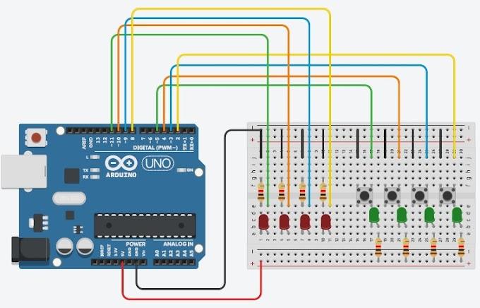 Rangkaian 4 Tombol 4 Led Arduino