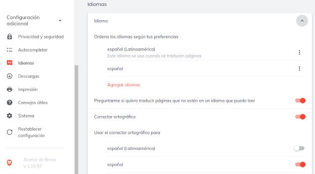 Cambiar idioma Brave Browser