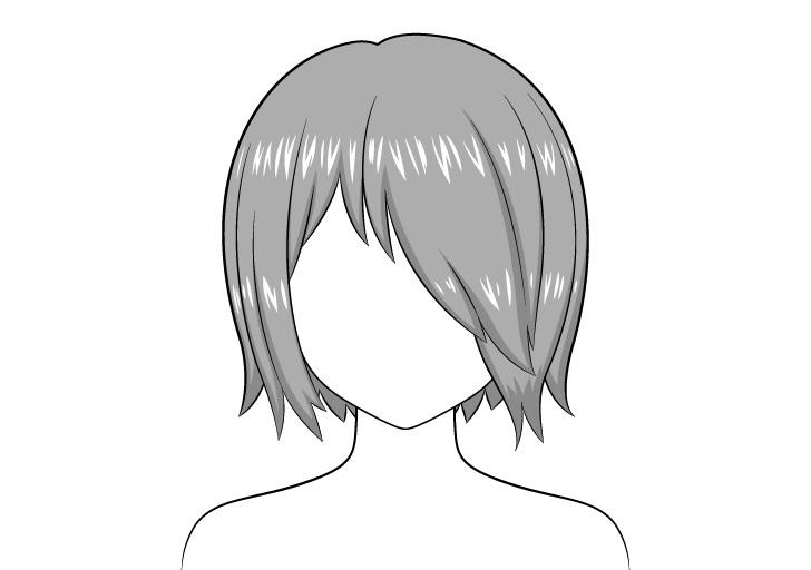 Rambut anime di atas satu gambar highlight mata