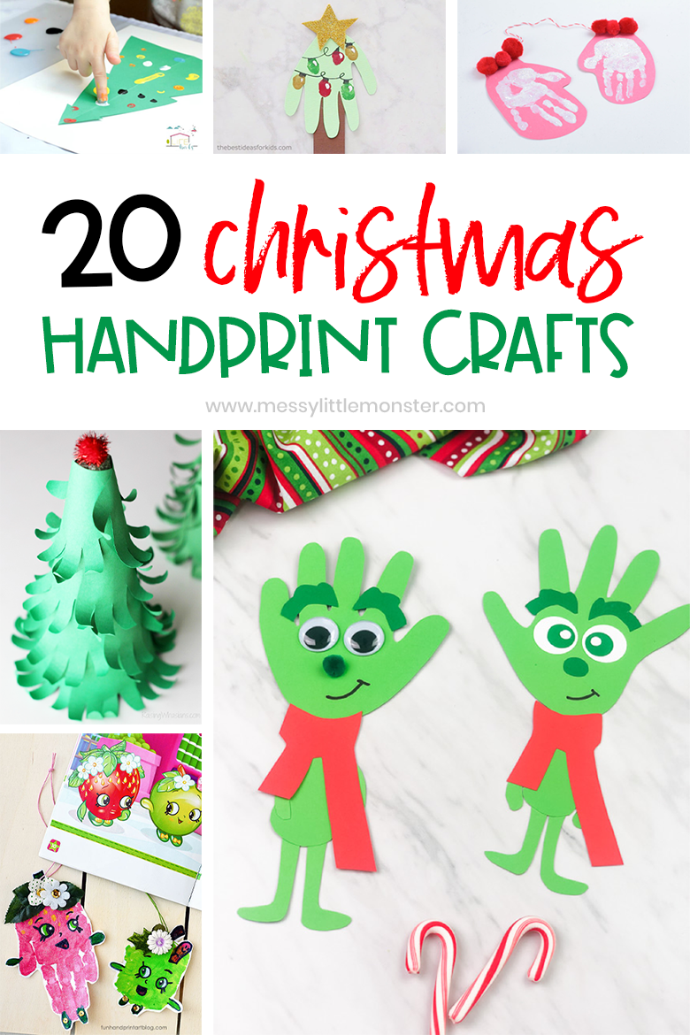 Christmas handprint crafts for kids. 20 handprint Christmas crafts including Christmas handprint cards, handprint Christmas crafts and handprint Christmas ornaments