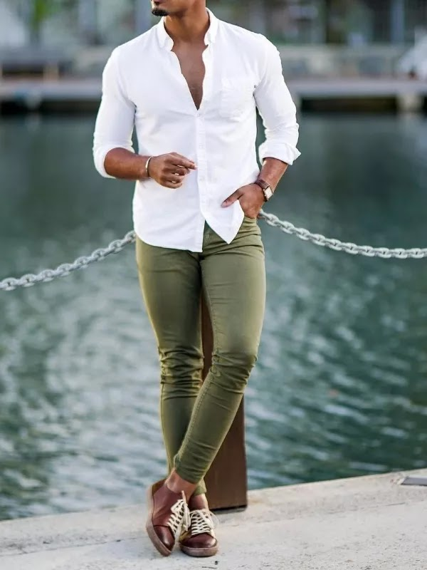 White shirt with olive green