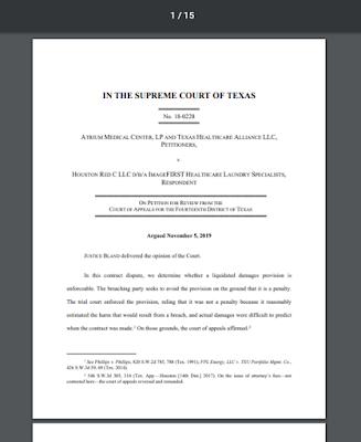 Atrium Medical Center, LP v. Houston Red C LLC, No. 18-0228 (Tex. 2020)