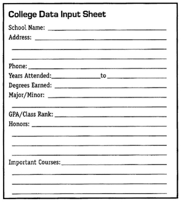 College Data Input Sheet