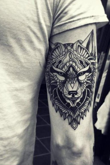 Upper Arm Wolf Tattoos