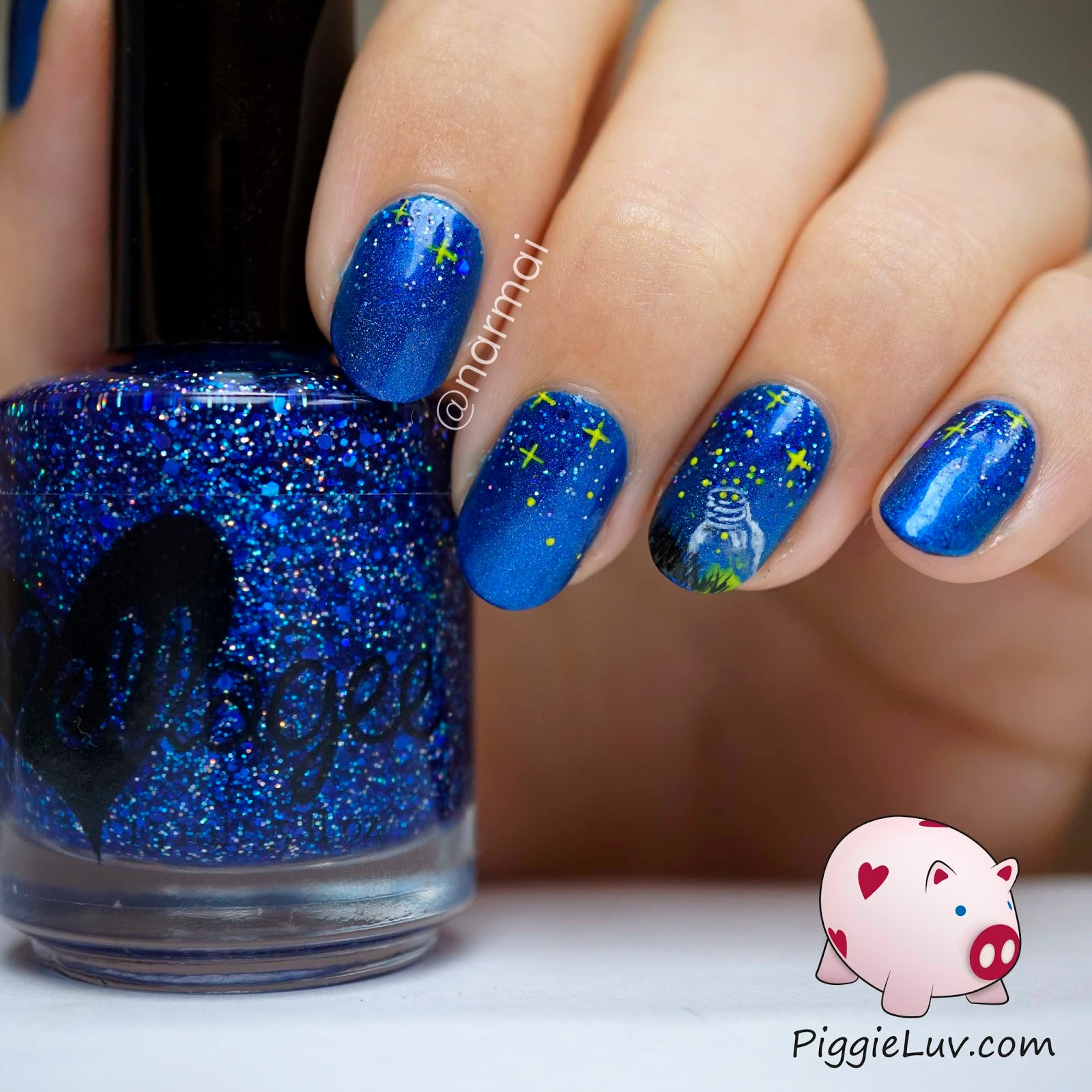 Firefly Jar Art Piggieluv Fireflies Become Stars Nail Art
