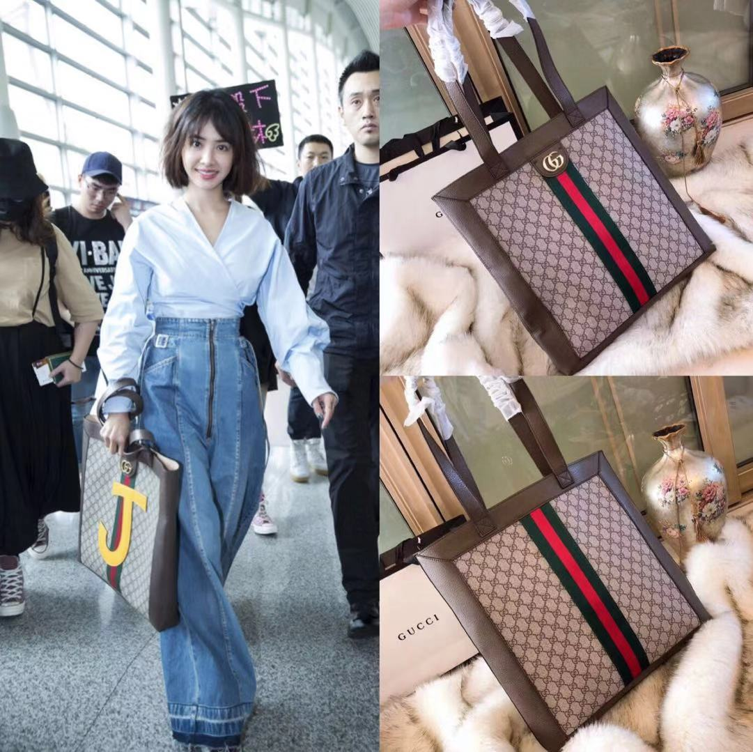 b6cd45819258 GUCCI Luxury Handbag Ophidia Soft GG Supreme Large Tote Shopping Bag 519335