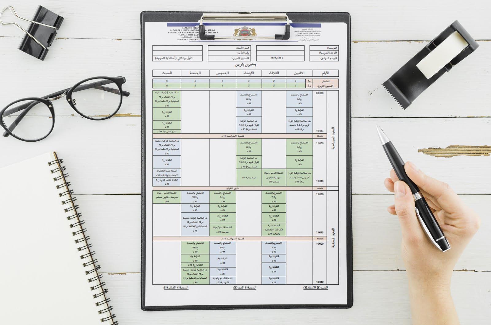 استعمالات الزمن الخاصة بصيغة التناوب لجميع المستويات في رابط واحد pdf و doc لسنة 2020/2021
