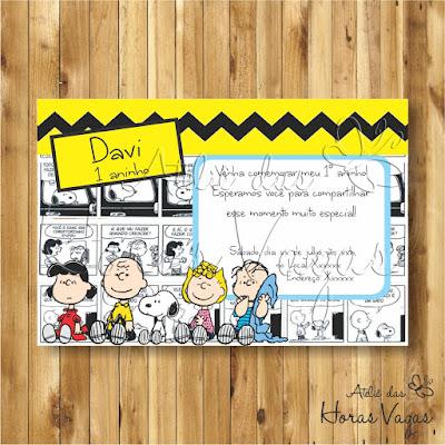 convite digital aniversário infantil personalizado artesanal turma do snoopy e charlie brown snoop quadrinhos tirinhas festa 1 aninho chá de bebê fraldas menino