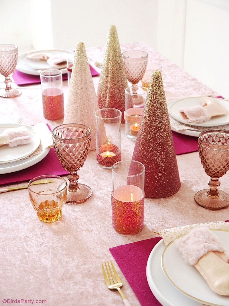 Pink Sugar Plum Christmas Tablescape + FREE Printables - ideas on styling and DIY table decor projects for the holidays! by BirdsParty.com @birdsparty #Christmas #tablescape #pinkChristmas #sugarplumChristmas #sugarplum #Christmastablescape #Christmasdecor #Christmastable #tablesetting #tabledecor