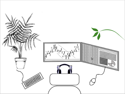 Day trader with two monitors, a plant and headphones