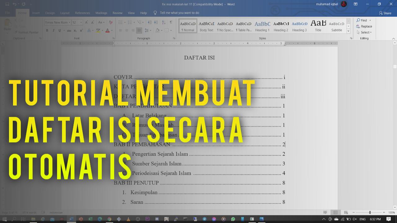 Cara Mudah Membuat Daftar Isi Secara Otomatis di Microsoft Office Word
