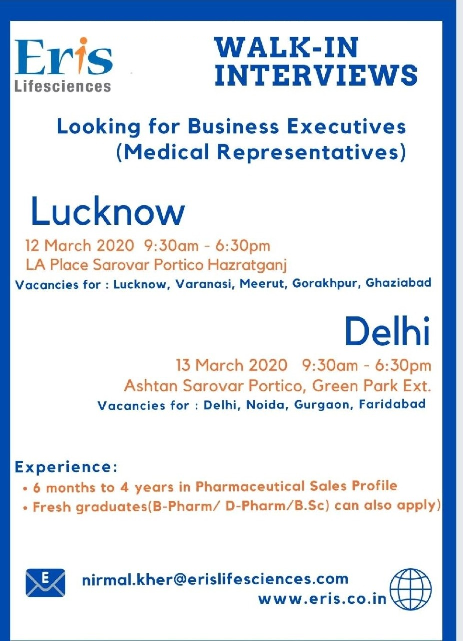 Eris Lifesciences - Walk-In Interviews for Fresh & Experienced Business Executives on 12th & 13th Mar' 2020