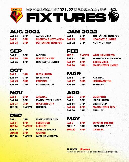 جدول مباريات واتفورد فى الدوري الانجليزي للموسم الجديد 2021/2022