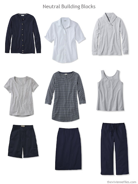 nine wardrobe Neutral Building Blocks in navy and grey for warmer weather