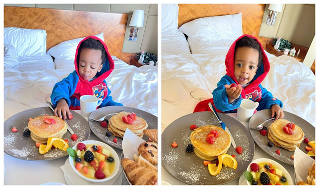 Check out the Lovely photos of Regina Daniels son as he dines like a King while enjoying his Breakfast(Photos)