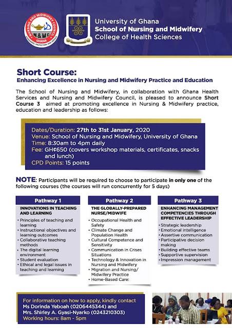 NMC Ghana Short Course Programme 2019/2020 [Nurses & Midwives]