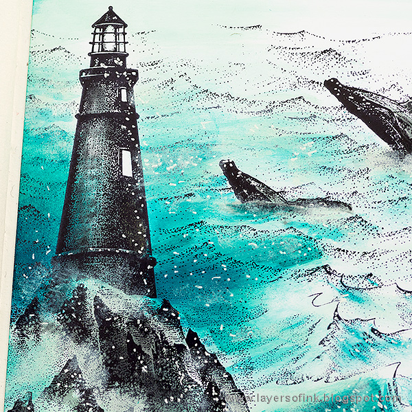 Layers of ink - Whales in the Sea Scenic Stamping by Anna-Karin Evaldsson