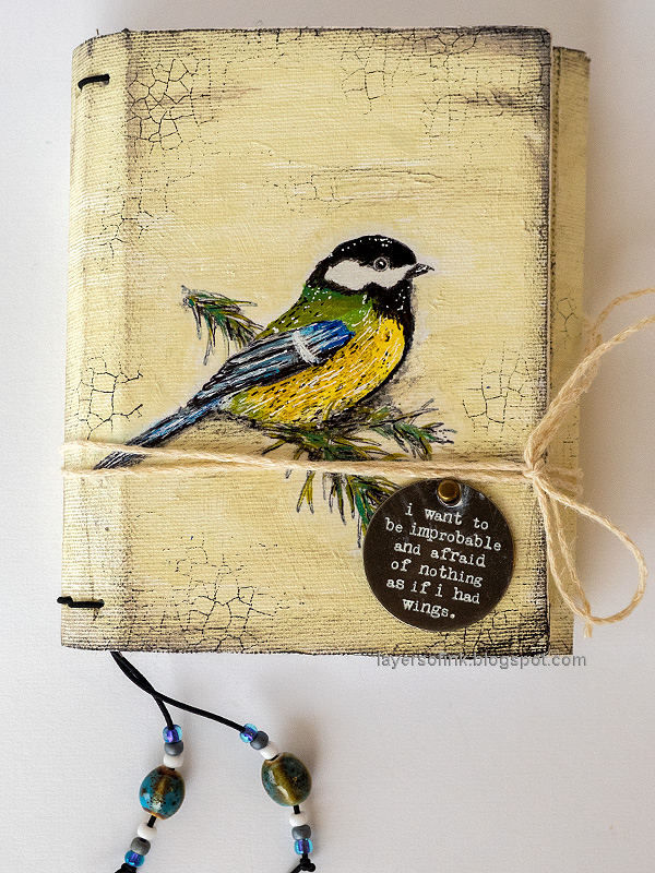 Layers of ink - Chickadee Wrapped Journal Tutorial by Anna-Karin Evaldsson.