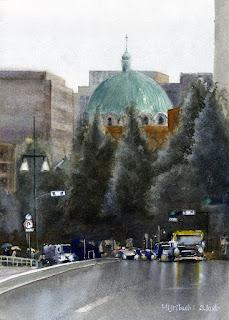水彩画 ニコライ堂 聖橋から見たニコライ堂の風景