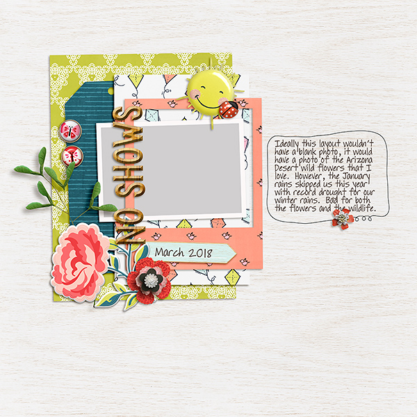 Now Shows - A photoless digital scrapbook page