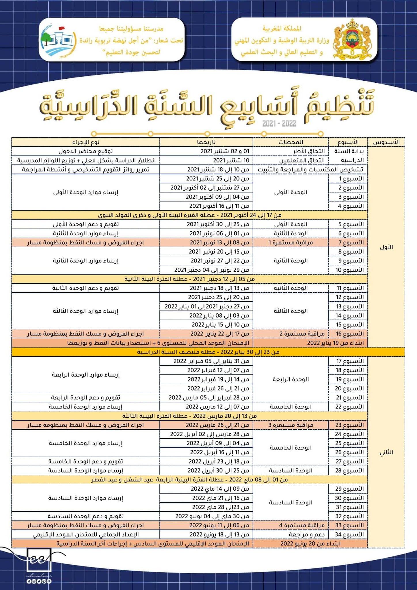 تنظيم أسابيع السنة الدراسية 2021 2022 PDF