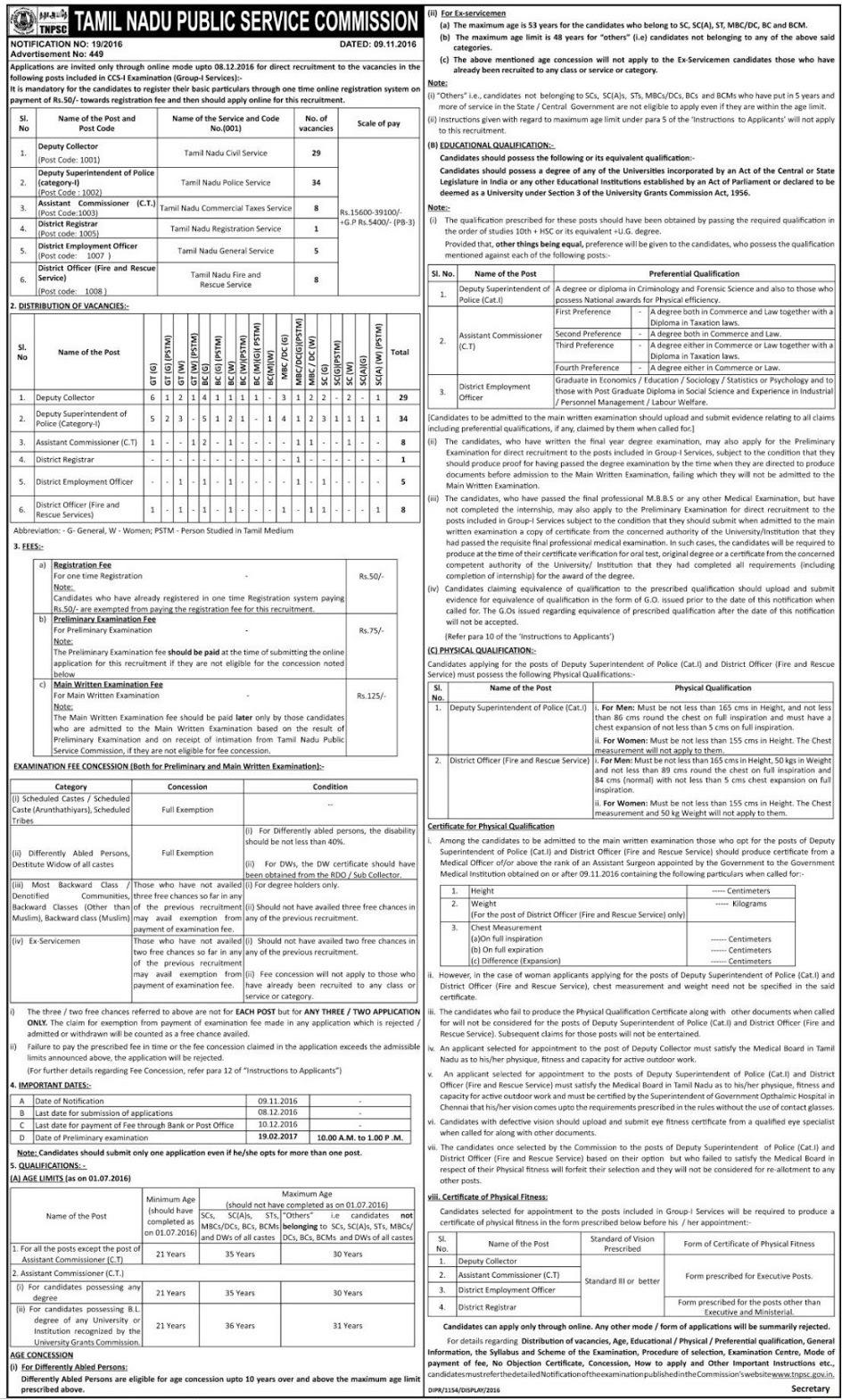TNPSC Group 1 Service Exam Freshers GraduatesApply TN Govt Job – Civil Service Exam Application Form