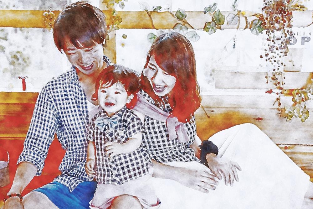 水彩画の3人家族