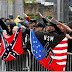 American terrorists with flags of terrorism (Picture)