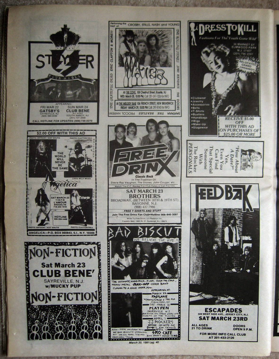Stryker - Water - Angelica - Free Drinx - Feed Back - Non-Fiction club line up 1991