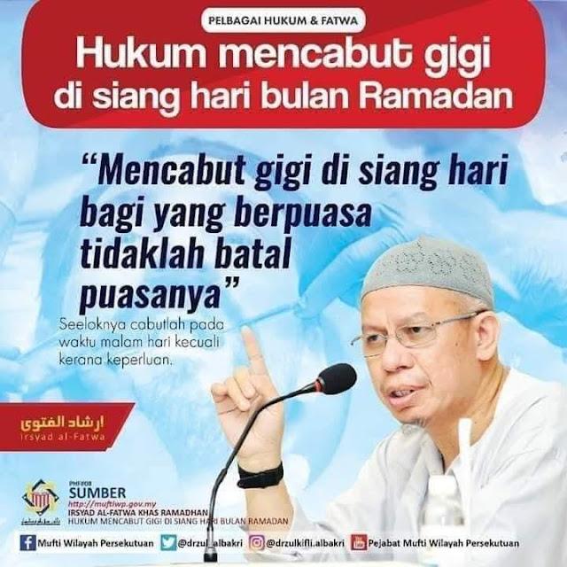 adakah batal puasa mencabut gigi di siang hari di bulan Ramadan ?