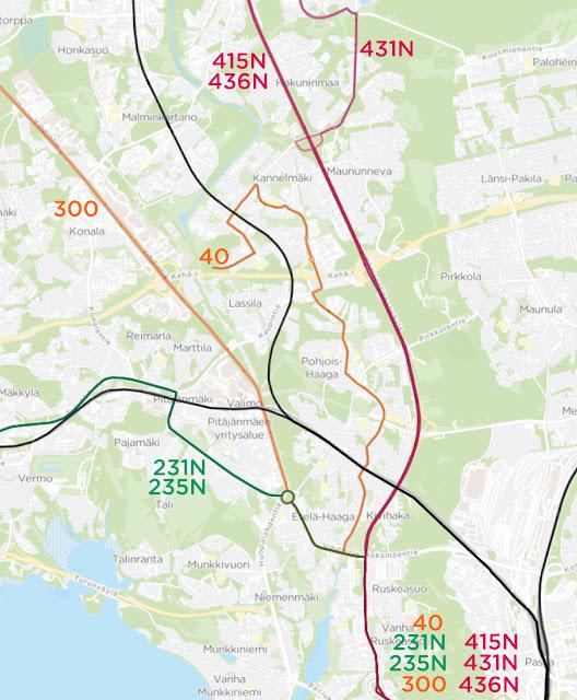 Hämeenlinnnanväylää palvelevat yölinjat 415N, 431N ja 436N. Haagan sisäosia palvelee runkolinja 40. Vihdintietä palvelee runkolinja 300. Etelä-Haagaa palvelevat myös Espoon suuntaan kulkevat linjat 231N ja 235N.