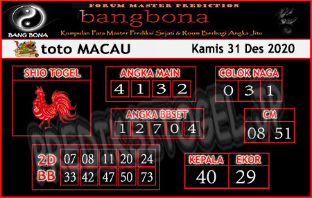 Prediksi Bangbona Toto Macau Kamis 31 Desember 2020