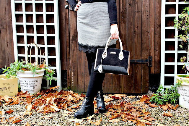 dogtooth skirt outfit, Autumn outfit inspiration