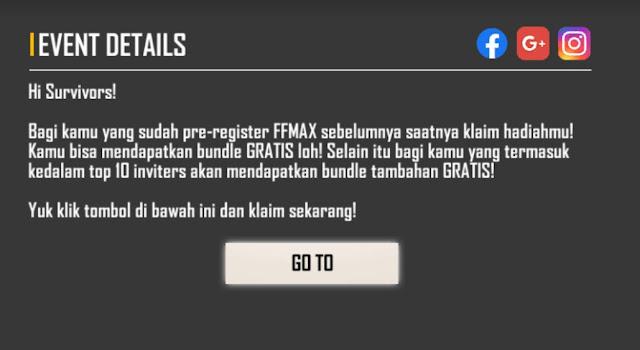 Link Web Evenrt Reward FF Max Tab Berita