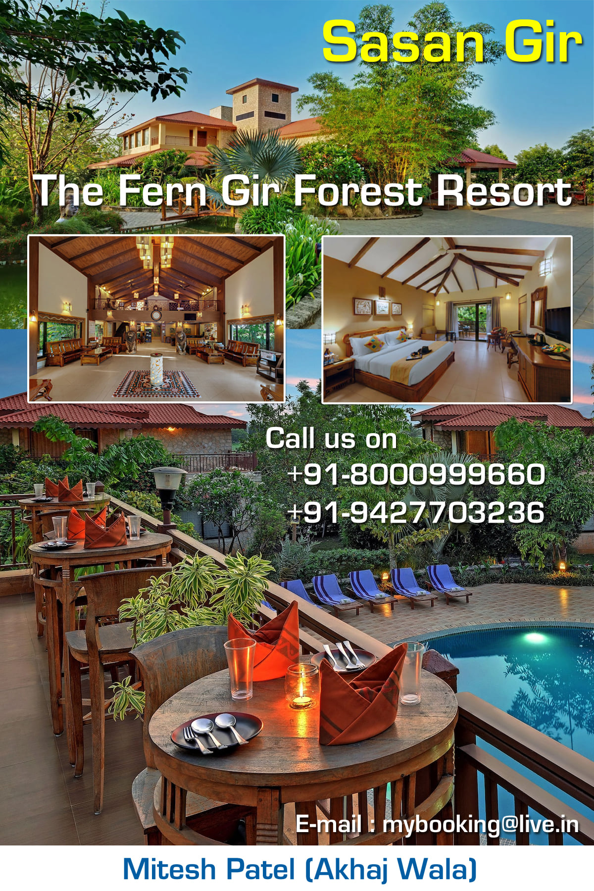 The Fern Gir Forest Resort - Experience world-class service at The Fern Gir Forest Resort Located next to Gir Lion Sanctuary, the eco-friendly Fern Gir Forest Resort in Sasan Gir offers an outdoor pool, pampering spa treatments and a gym. It enjoys beautiful views of the Hiran River and the surrounding hills. Parking is free.  Air-conditioned cottages and tents have a private balcony with views of the natural surroundings. All rooms come with a flat-screen TV, minibar and personal safe. En suite bathrooms have shower facilities.  Fern Gir Forest Resort is 50 km from Junagadh and 110 km from Diu Airport. It is 160 km from Raikot Airport and 370 km from Ahmedabad Airport.  Guided nature trails, wildlife photography lessons and local village tours can be arranged by the tour desk. Urban Nirvana Spa features relaxing massage and a unique under-the-sky rainshower. A business centre is also available.  The Banyan Tree restaurant serves a selection of international dishes. Dining with a view is provided by the river-side Deck Restaurant. Snacks and fresh fruit juice can be enjoyed at the Pool Side Juice Bar. AIR TICKETING All Domestic & International GDS & LCC Flight Booking Group Fare / Individual Fare / Student Fare / Corporate Fare and more... RAILWAY TICKETING  HOTEL BOOKING All Budget & Premium - Domestic & International Hotel Booking BUS TICKETING Daily Service Bus Ticketing – All Major Operators Available Across India GSRTC Bus Ticket Booking PASSPORT SERVICES Fresh Passport / Renew Passport /Police Clearance Certificate / Correction in Passport / Changes in Particular Details VISA SERVICES Tourist Visa - USA, UK, CANADA, AUSTRALIA, SINGAPORE, DUBAI, MALAYSIA, THAILAND & More... TOUR PACKAGES Domestic & International Tour Packages MONEY TRANSFER SERVICES Western Union (Receive Money From Abroad in Few Minutes) Transfast (Received Money From Abroad) Domestic Money Transfer - Money Transfer in India REMMITANCE SERVICES (Wire Transfer - TT) Education Remmitance Family Maintenance Forex Card (New/Reload) INSURANCE SERVICES Travel-Overseas Insurance (BhartiAxa, ICICI, Bajaj, Digit, Religare, Reliance, TataAIA & More...) HDFC Life Insurance Services CAR/BUS RENTAL Tavera, Innova, Xylo, Indica, Indigo & More…Across India  UTILITY BILL PAYMENT  Landline & Mobile Bill Payment – Tata, Reliance, BSNL, Idea, Airtel, Vodafone & More...  Electricity Bill Payment – Torrent Power, UGVCL & More..  Gas Bill Payment – Adani Gas Ltd., Gujarat Gas, Mahanagar Gas(Mumbai)  Insurance Premium Collection – LIC, Aviva Life Insurance, Kotak Life Insurance, Max Newyork Life Insurance, Birla Sun Life, Reliance Life Insurance, DLF Pramerica Life Insurance, Exide Life Insurance, ICICI Pru Life Insurance, TATA AIA Life Insurance, Bajaj Allianz Life Insurance, L and T General Insurance  Ground Floor-11, Vishwas Shopping Center-1, R.C.Technical Road, Ghatlodia, Ahmedabad - 380061. Contact No. : +91-8000999660 / +91-9427703236 E-mail : info@aksharonline.com Website : www.aksharonline.com