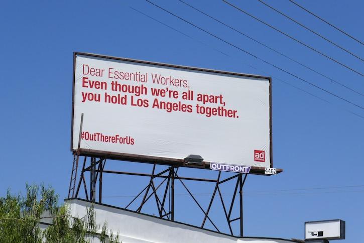 Dear Essential Workers LA Ad Council billboard
