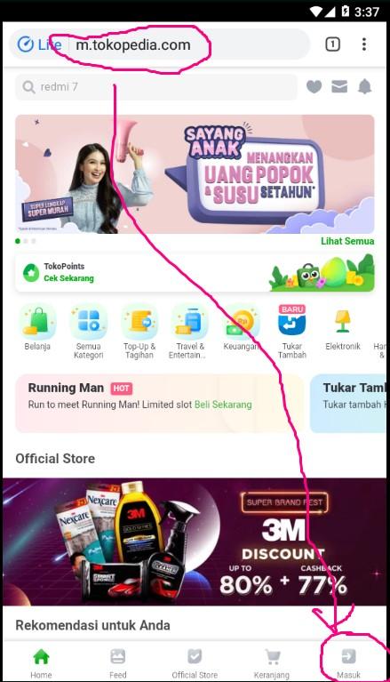 Login / Masuk Akun Tokopedia Melalui Browser Smartphone.
