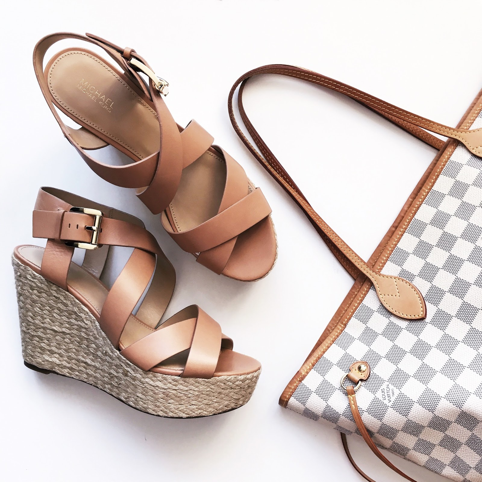 Michael Kors Wedge Sandals, Louis Vuitton Neverfull Tote Bag
