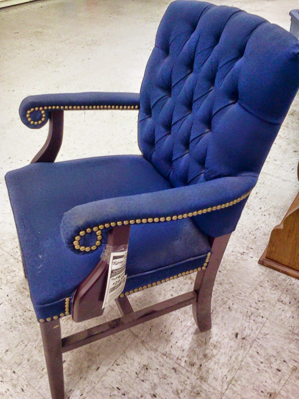 Tufted Blue Chair Posture Pleaser Elite Decorated Chaos With Nail Head Trim