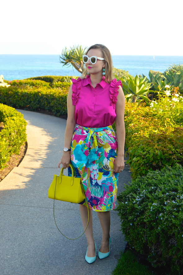dc1117c840c Skirt  J. Crew Seaside Floral tie-waist skirt here. Shirt  Zara Bag  Louis  Vuitton similar here. Shoes  J. Crew Factory similar here